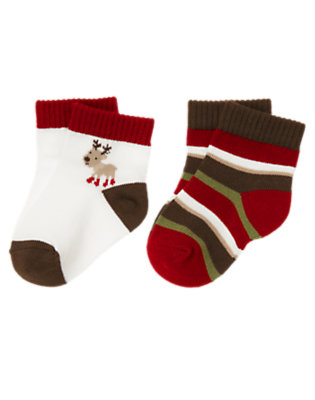 Ivory/Reindeer Brown Stripe Reindeer Stripe Sock Two-Pack by Gymboree