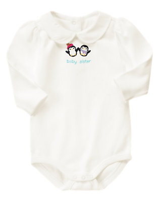 Ivory Penguin Baby Sister Bodysuit by Gymboree