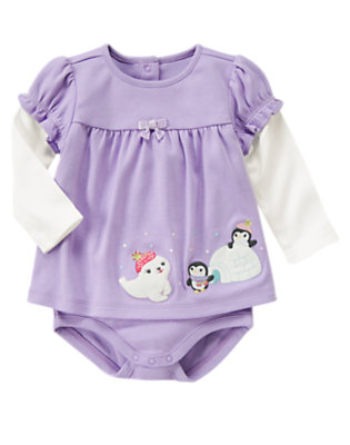 Lavender Penguin Layered Bodysuit by Gymboree