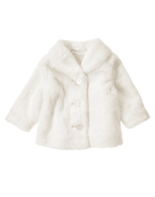 Ivory Faux Fur Coat by Gymboree