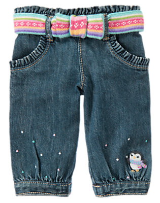 Denim Penguin Belted Denim Pant by Gymboree