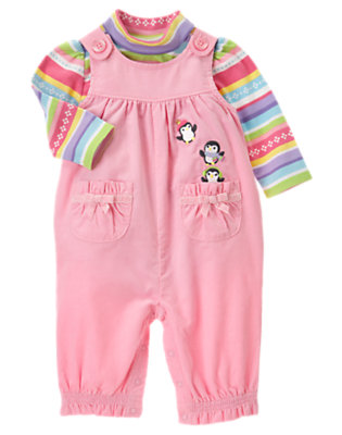 Igloo Pink Penguin Corduroy Overall Two-Piece Set by Gymboree