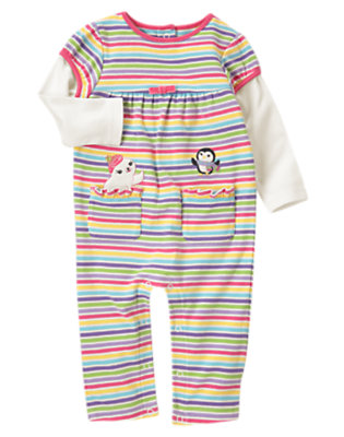 Baby Penguin Pink Stripe Penguin Double Sleeve One-Piece by Gymboree