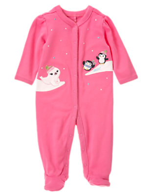 Baby Penguin Pink Penguin Footed One-Piece by Gymboree
