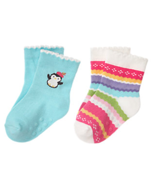 Penguin Blue/Penguin Pink Fair Isle Penguin Fair Isle Sock Two-Pack by Gymboree