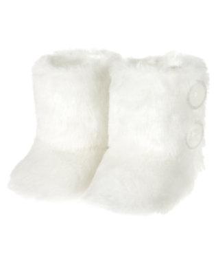 Ivory Faux Fur Bootie by Gymboree