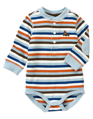 Iceberg Blue Stripe Walrus Henley Stripe Bodysuit by Gymboree