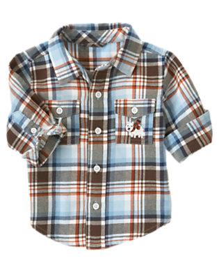 Baby Iceberg Blue Plaid Plaid Flannel Shirt by Gymboree