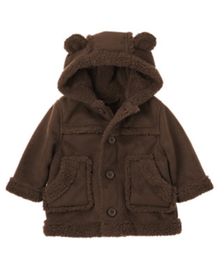 Baby Chocolate Brown Faux Shearling Hooded Jacket by Gymboree