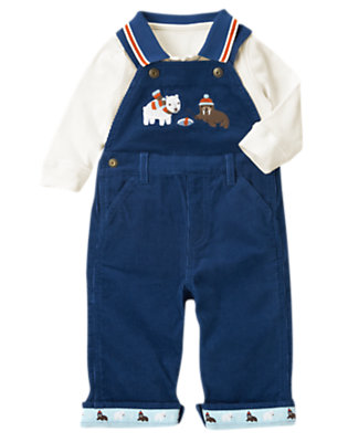 Baby Arctic Blue Walrus Overall Two-Piece Set by Gymboree