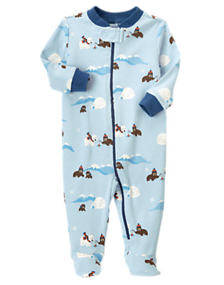 Iceberg Blue Walrus Footed One-Piece by Gymboree