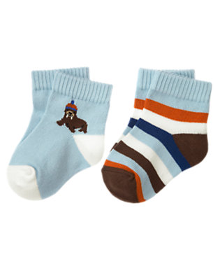Baby Iceberg Blue Walrus Stripe Sock Two-Pack by Gymboree