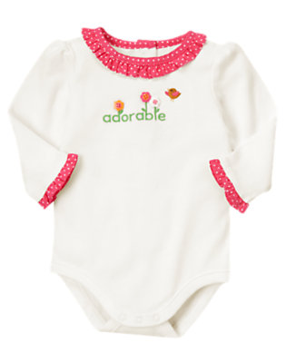 Ivory Adorable Ruffle Bodysuit by Gymboree