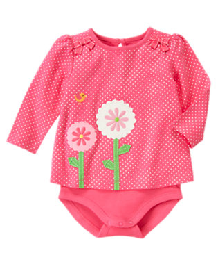 Turtle Pink Dot Flower Dot Layered Bodysuit by Gymboree