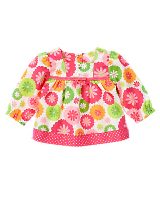 Baby Turtle Pink Floral Flower Button Top by Gymboree