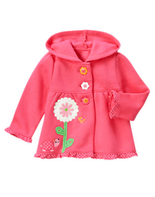 Baby Turtle Pink Turtle Flower Hoodie by Gymboree