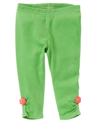 Baby Turtle Green Flower Button Legging by Gymboree