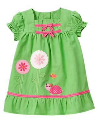 Baby Turtle Green Turtle Flower Dress by Gymboree
