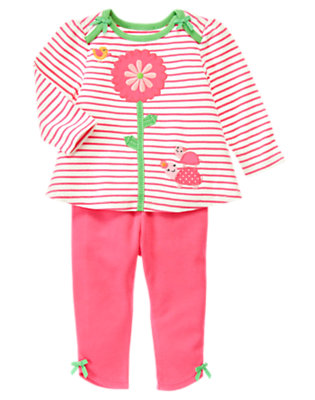 Baby Turtle Pink Stripe Flower Stripe Two-Piece Set by Gymboree