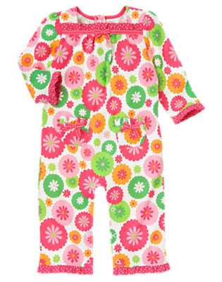 Turtle Pink Floral Flower Dot One-Piece by Gymboree