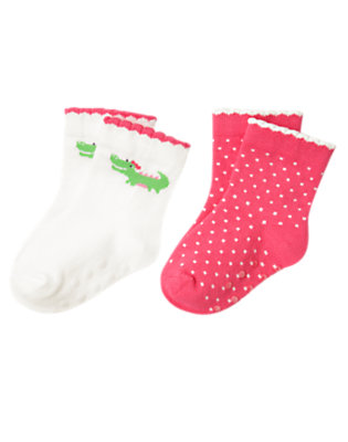 Baby Ivory/Turtle Pink Dot Alligator Dot Sock Two-Pack by Gymboree