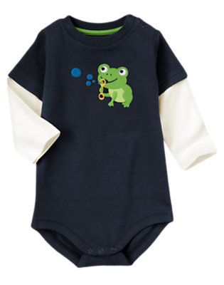 Navy Frog Double Sleeve Bodysuit by Gymboree