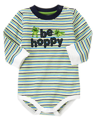 Baby Frog Green Stripe Be Hoppy Stripe Bodysuit by Gymboree