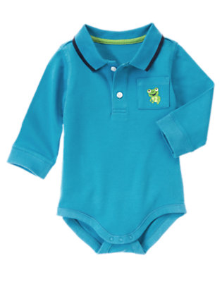 Pond Blue Frog Polo Bodysuit by Gymboree