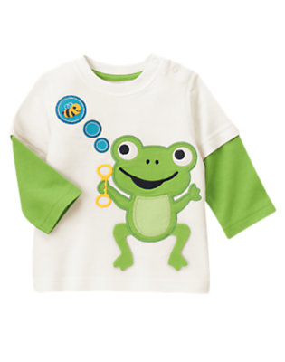 Baby White Frog Double Sleeve Tee by Gymboree