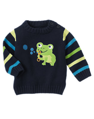 Baby Navy Frog Stripe Sweater by Gymboree