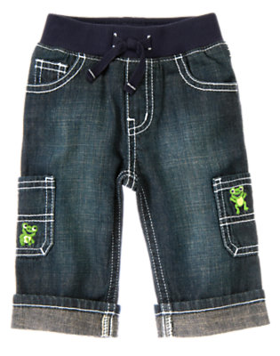 Baby Denim Frog Cargo Denim Pant by Gymboree