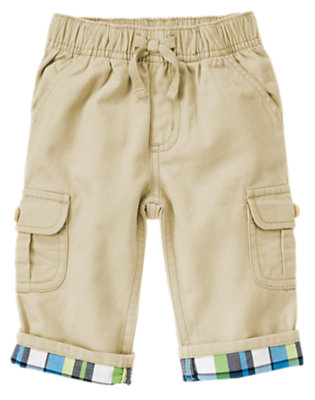 Khaki Plaid Cuff Cargo Pant by Gymboree