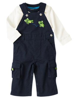 Baby Navy Frog Overall Two-Piece Set by Gymboree
