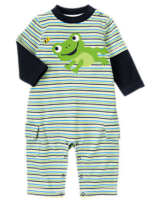 Baby Frog Green Stripe Frog Stripe One-Piece by Gymboree