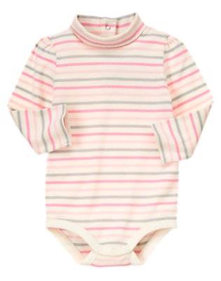 Ivory Mini Stripe Stripe Turtleneck Bodysuit/Tee Shirt by Gymboree