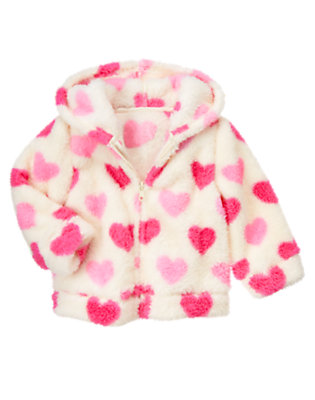 Vanilla Ivory Heart Heart Faux Fur Hoodie by Gymboree
