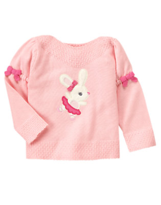 Toddler Girls Ballerina Pink Bow Ballerina Bunny Sweater by Gymboree
