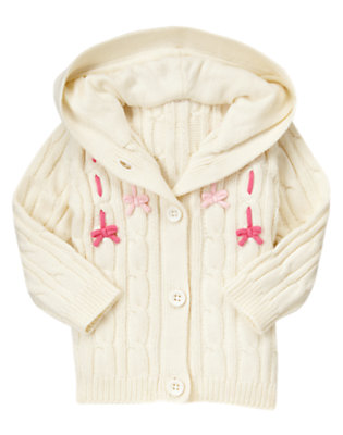 Toddler Girls Vanilla Ivory Bow Cable Sweater Hoodie by Gymboree