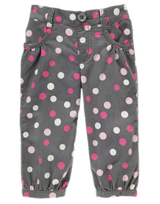 Bunny Grey Dot Dot Corduroy Pant by Gymboree