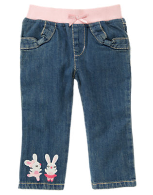 Toddler Girls Denim Ballerina Bunny Jean by Gymboree