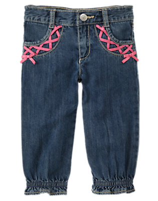 Denim Ribbon Ruffle Cuff Jean by Gymboree