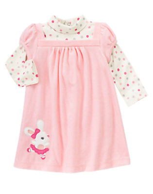 Toddler Girls Ballerina Pink Ballerina Bunny Double Sleeve Velour Dress by Gymboree