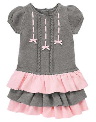 Toddler Girls Heather Grey Bow Ruffle Sweater Dress by Gymboree