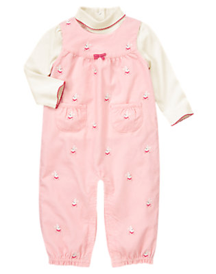 Toddler Girls Ballerina Pink Ballerina Bunny Corduroy Overall Two-Piece Set by Gymboree