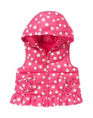 Toddler Girls Pirouette Pink Dot Dot Hooded Puffer Vest by Gymboree