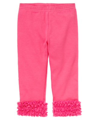 Toddler Girls Pirouette Pink Tulle Ruffle Legging by Gymboree