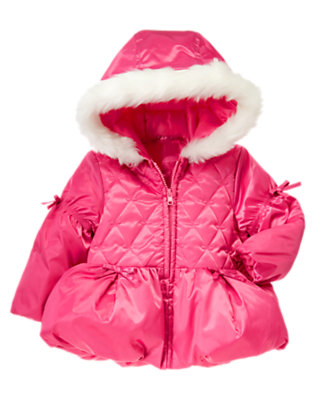 Toddler Girls Pirouette Pink Bubble Hem Hooded Puffer Jacket by Gymboree