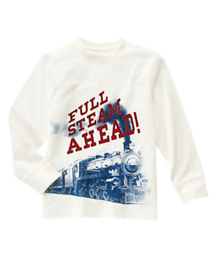 Ivory Full Steam Ahead Train Tee by Gymboree