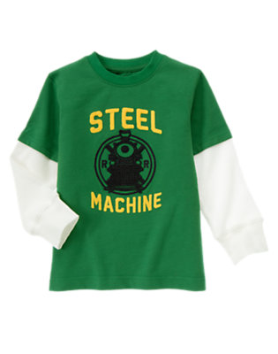 Ivy Green Steel Machine Train Double Sleeve Tee by Gymboree