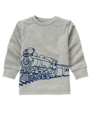 Heather Grey Train Tee by Gymboree